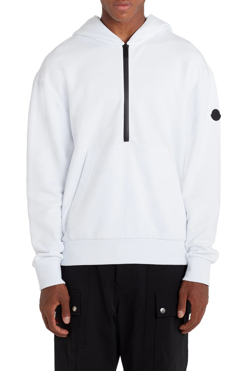 MONCLER Logo Half Zip French Terry Hoodie, Main, color, 100