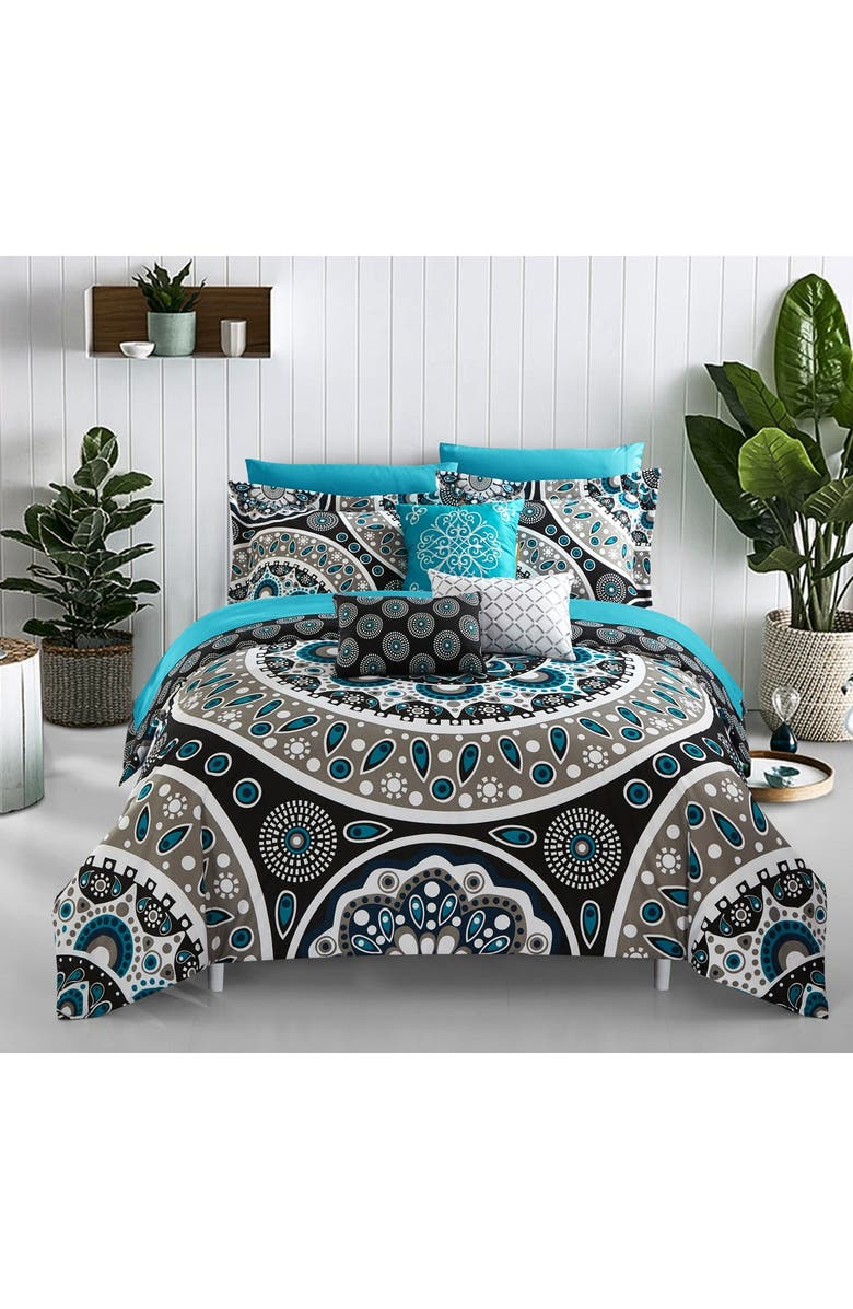 CHIC Bryton Large Scale Contempo Bohemian Reversible Printed With Embroidered Details Queen Bed In a Bag Comforter 10-Piece Set, Black, Main, color, BLACK