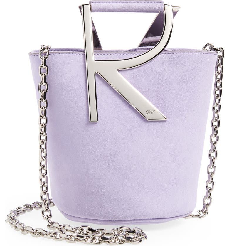 ROGER VIVIER Mini RV Suede Bucket Bag Handbag, Main, color, VIOLA CHIFFON