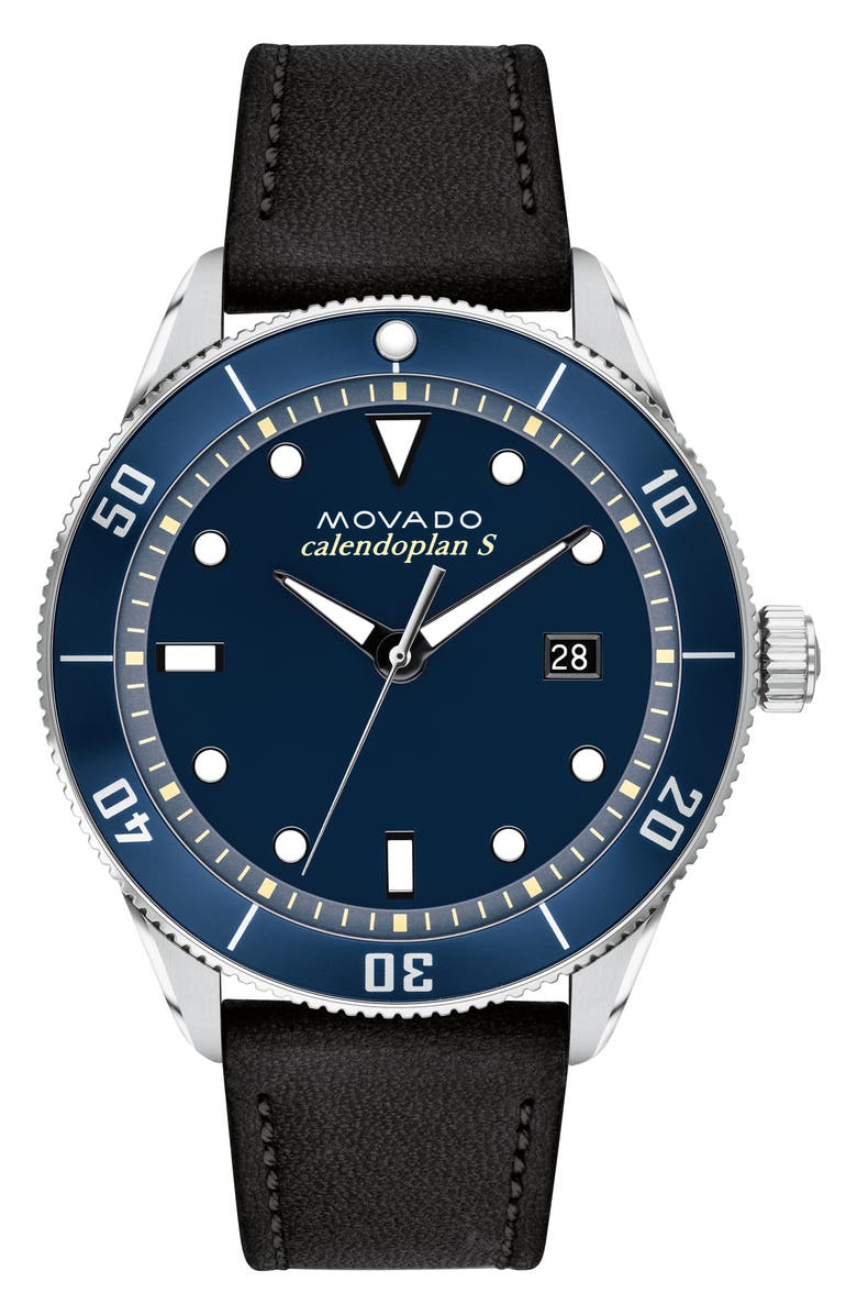 MOVADO Heritage Calendoplan Leather Strap Watch, 43mm, Main, color, 001