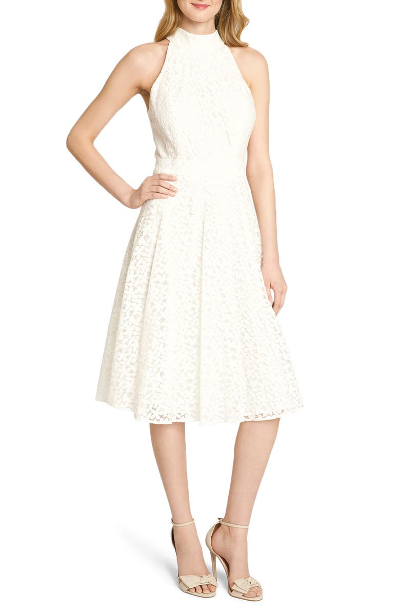 TAHARI Floral Daisy Lace Fit & Flare Dress, Main, color, 900