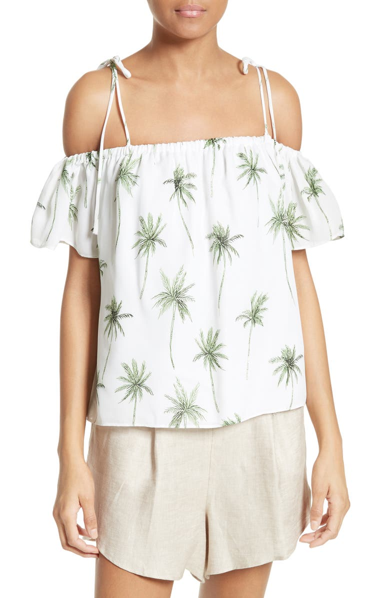 MILLY Eden Palm Tree Print Top, Main, color, 964