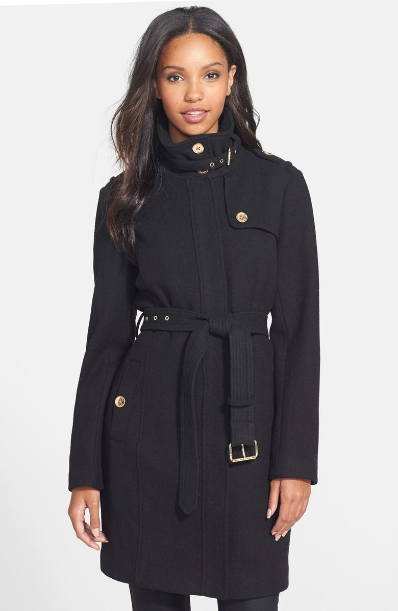 MICHAEL MICHAEL KORS Stand Collar Wool Blend Trench Coat, Main, color, 001