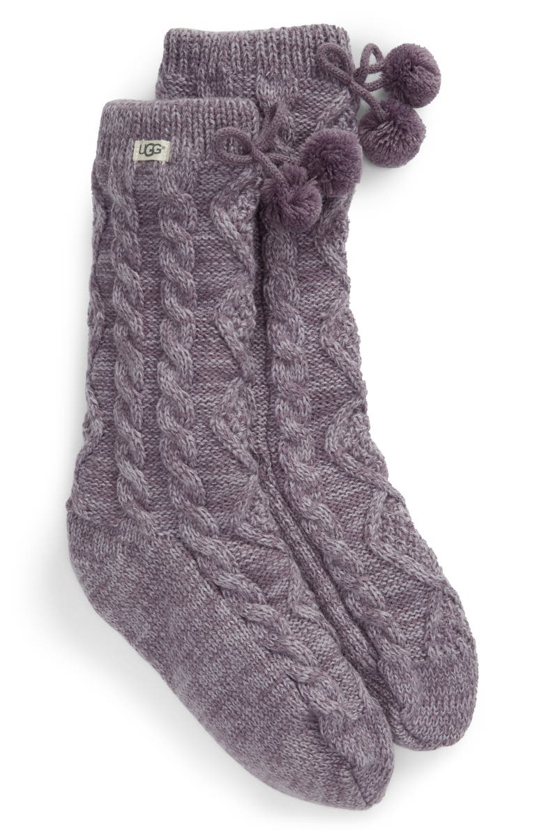 UGG<SUP>®</SUP> Pompom Fleece Lined Socks, Main, color, LAVENDER AURA