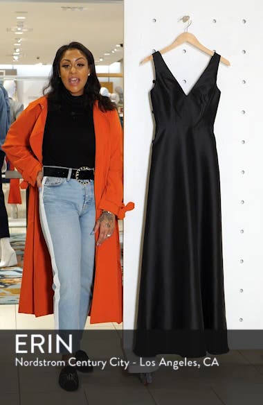 V-Neck Satin Twill A-Line Gown, sales video thumbnail
