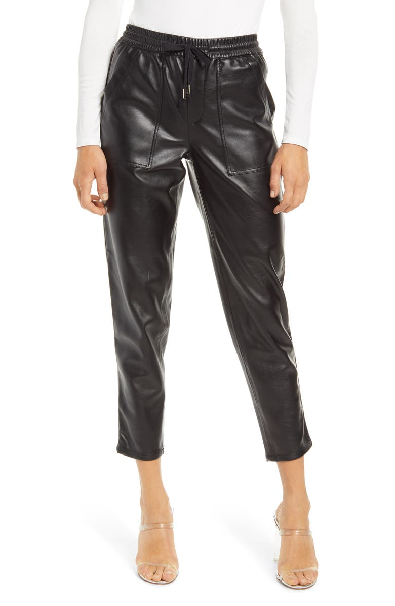 BLANKNYC No Guidance Ankle Faux Leather Pants, Main, color, BLACK