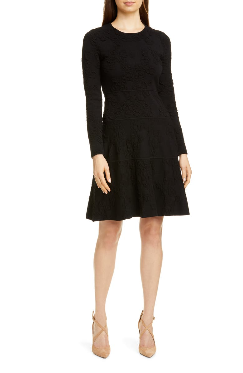 LELA ROSE Tonal Jacquard Long Sleeve Tiered Wool Blend Dress, Main, color, 001