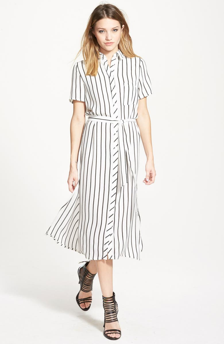 GLAMOROUS Belted Shirtdress, Main, color, 001