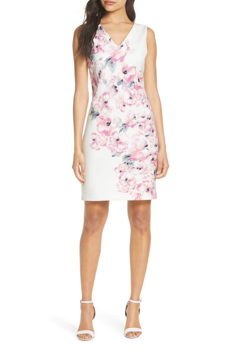 DONNA RICCO Floral Explosion Sheath Dress, Main, color, IVORY/ BLUSH