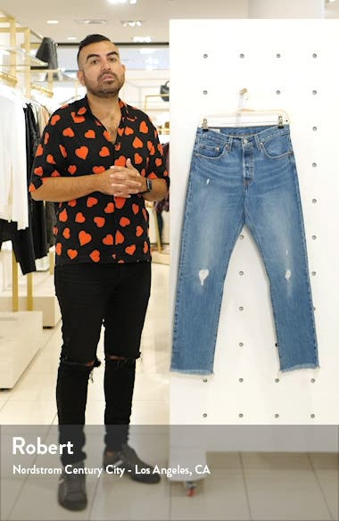 501<sup>®</sup> High Waist Ripped Fray Hem Skinny Jeans, sales video thumbnail