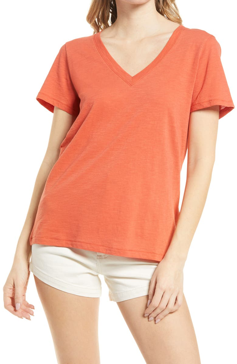 MADEWELL Whisper Cotton V-Neck T-Shirt, Main, color, RUSTED CLAY