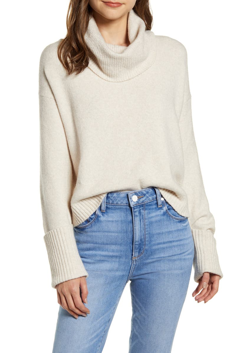 CHELSEA28 Cowl Neck Sweater, Main, color, BEIGE OATMEAL LIGHT HEATHER