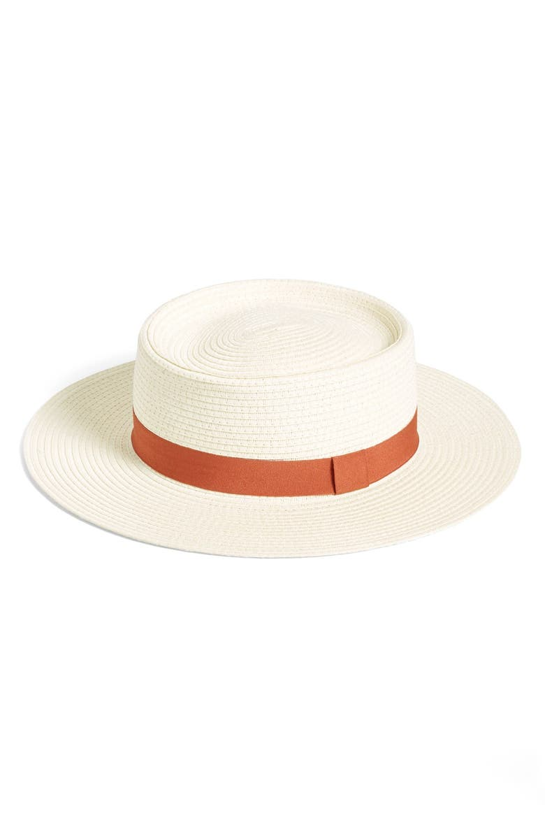 BP. Grosgrain Band Straw Boater Hat, Main, color, 900