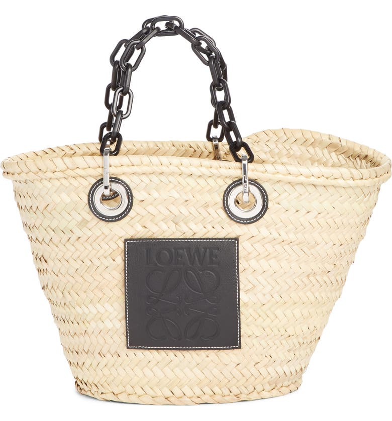 LOEWE Chain Handle Woven Palm Market Basket, Main, color, 250