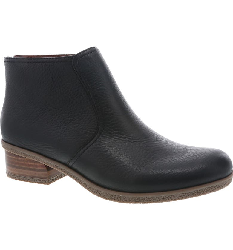 DANSKO Becki Waterproof Bootie, Main, color, BLACK WATERPROOF LEATHER