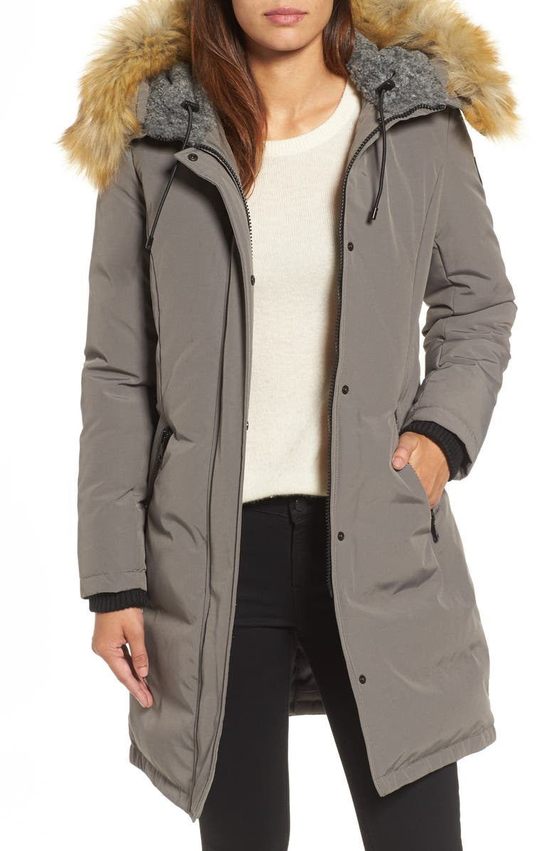 VINCE CAMUTO Down & Feather Fill Parka with Faux Fur Trim, Main, color, Grey