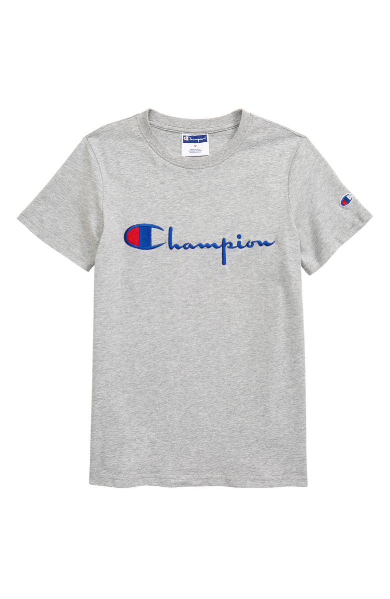 CHAMPION Kids' Embroidered Script Logo T-Shirt, Main, color, OXFORD HEATHER