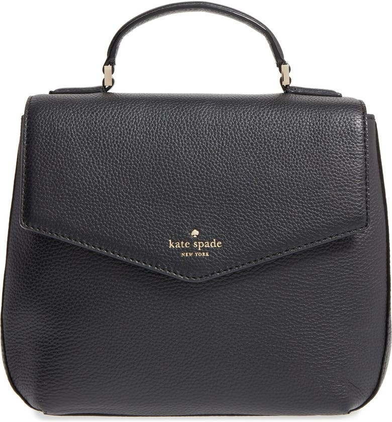 KATE SPADE NEW YORK spencer court adaire convertible leather backpack, Main, color, BLACK