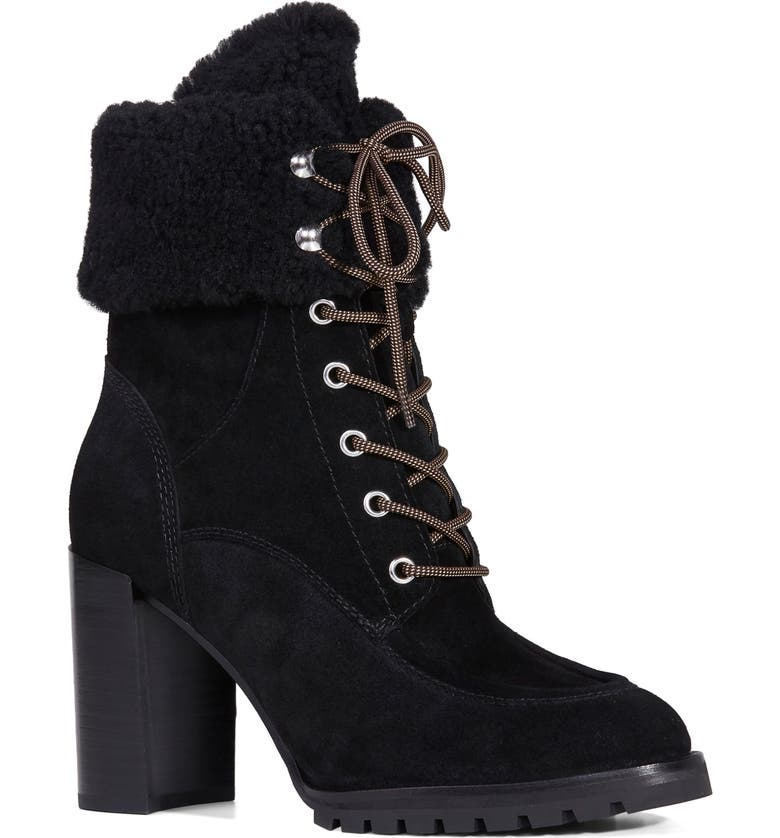PAIGE Nina Genuine Shearling Bootie, Main, color, 001