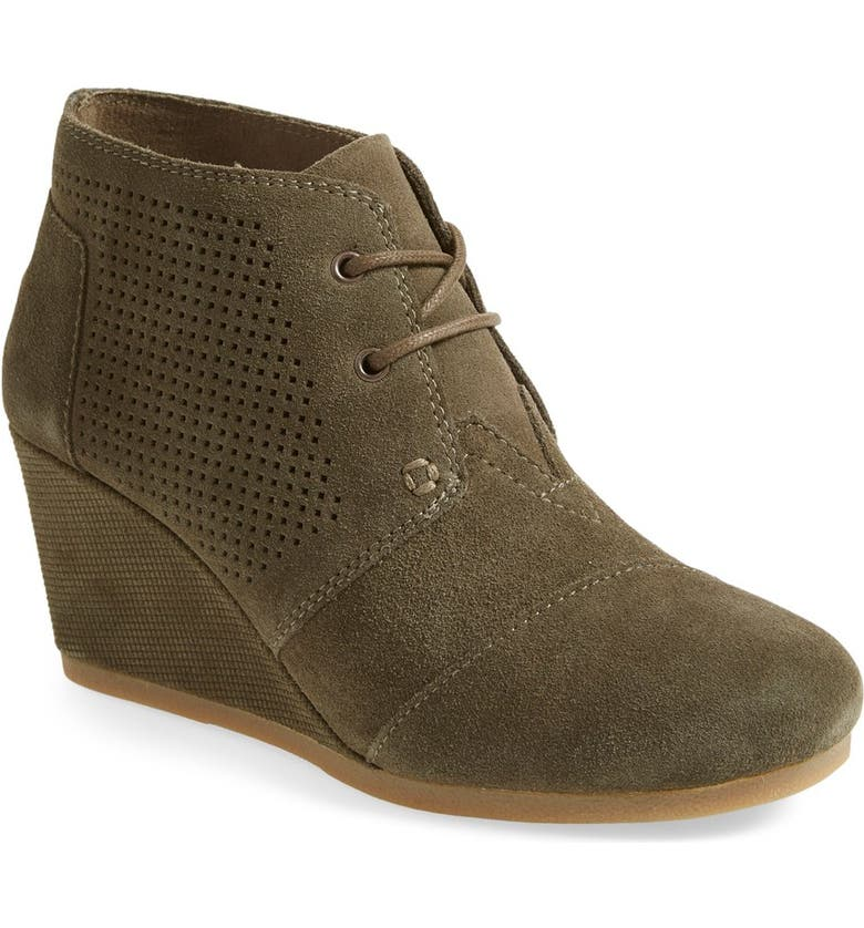 TOMS Perforated Desert Wedge Bootie, Main, color, GREEN SUEDE