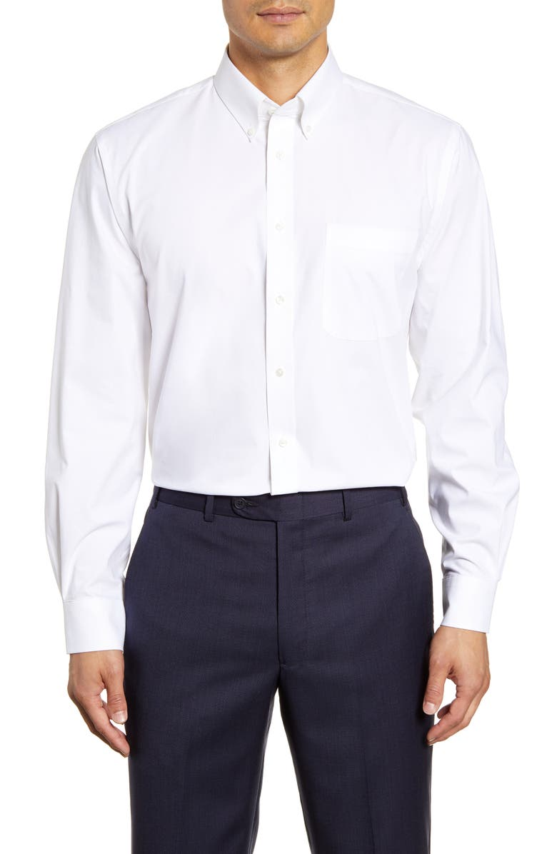 NORDSTROM MEN'S SHOP Tech-Smart Traditional Fit Stretch Pinpoint Dress Shirt, Main, color, 100