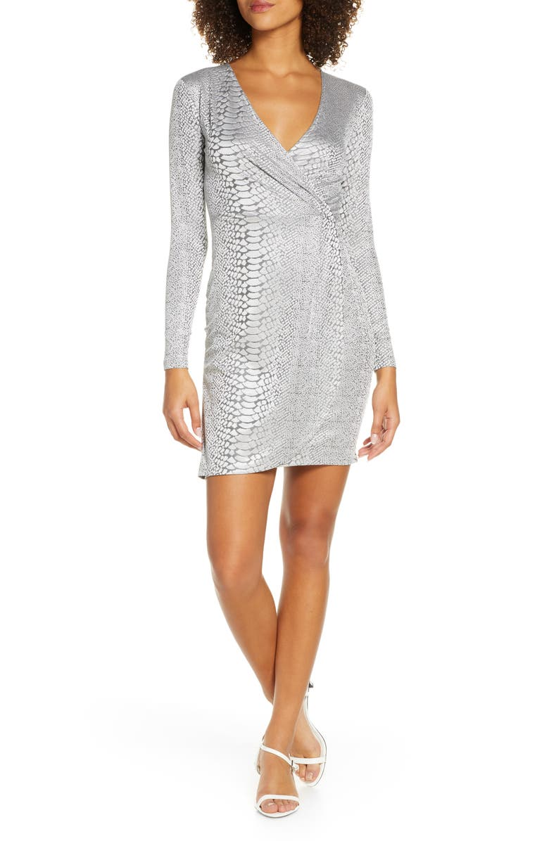 FRENCH CONNECTION Long Sleeve Snake Jacquard Dress, Main, color, 040
