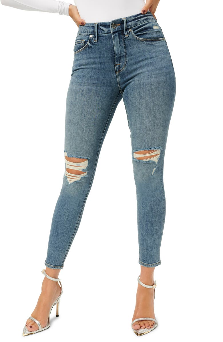 GOOD AMERICAN Good Legs Distressed Ankle Crop Skinny Jeans, Main, color, BLUE752