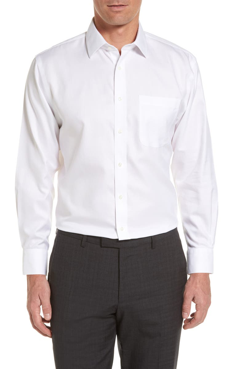 NORDSTROM MEN'S SHOP Nordstrom Smartcare<sup>™</sup> Traditional Fit Herringbone Dress Shirt, Main, color, WHITE
