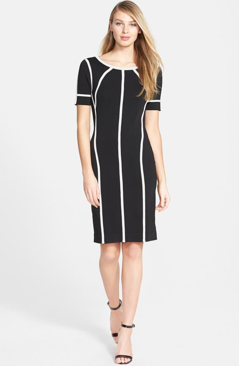 VINCE CAMUTO Short Sleeve Sweater Dress, Main, color, RICH BLACK