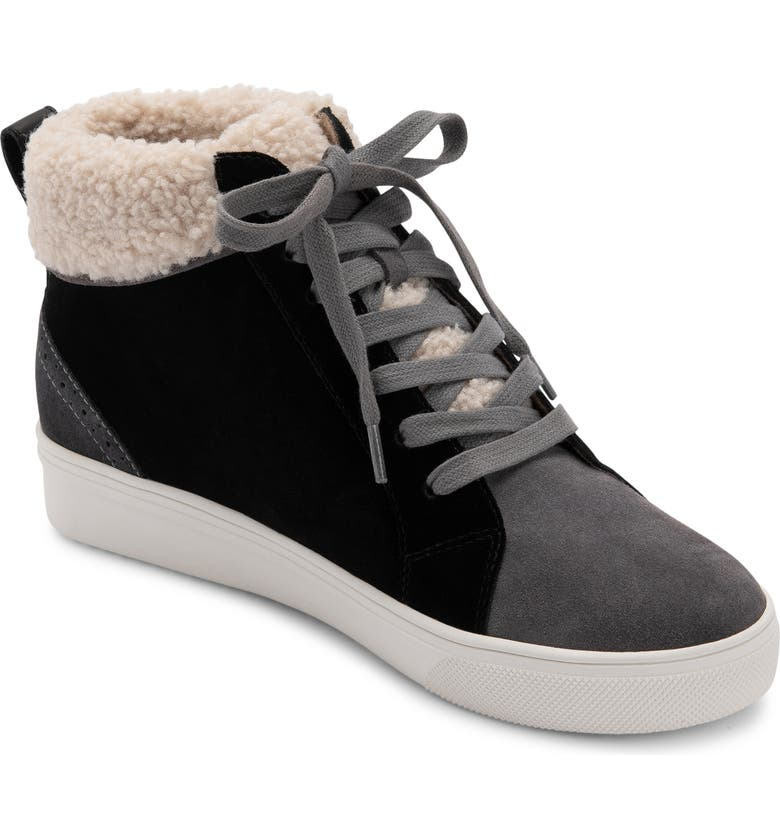 BLONDO Gulia Waterproof Faux Fur Mid Sneaker, Main, color, BLACK LEATHER