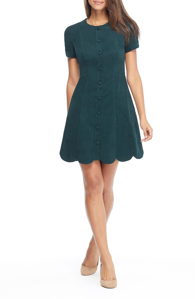 GAL MEETS GLAM COLLECTION Michelle Micro Corduroy Fit & Flare Dress, Main, color, 330