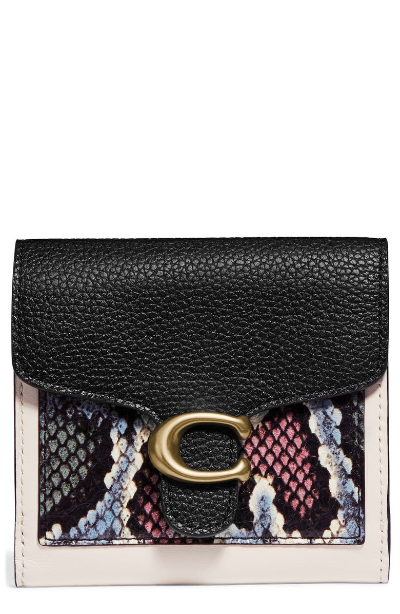 COACH Small Tabby Genuine Snakeskin & Leather Wallet, Main, color, 102