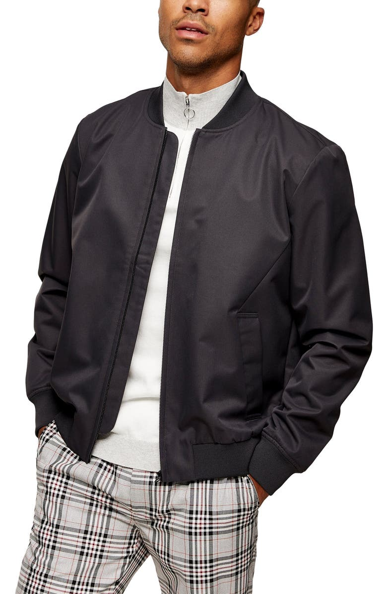 TOPMAN Icon Classic Bomber Jacket, Main, color, GREY