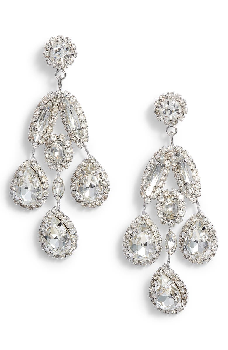 CRISTABELLE Crystal Drop Earrings, Main, color, Silver