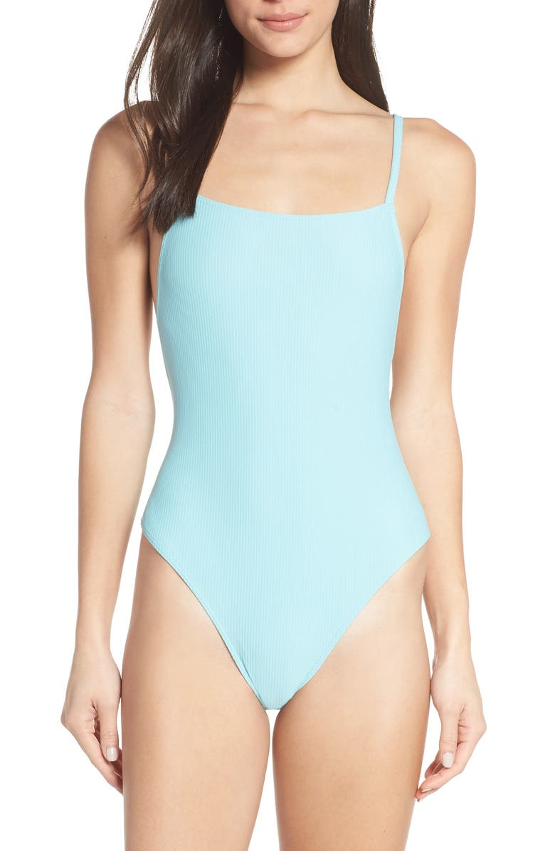 SOMETHING NAVY Core Ribbed One-Piece Swimsuit, Main, color, 450