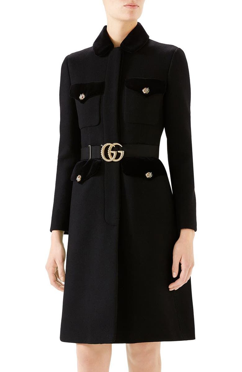 GUCCI GG Belt Wool Blend Military Coat, Main, color, 001