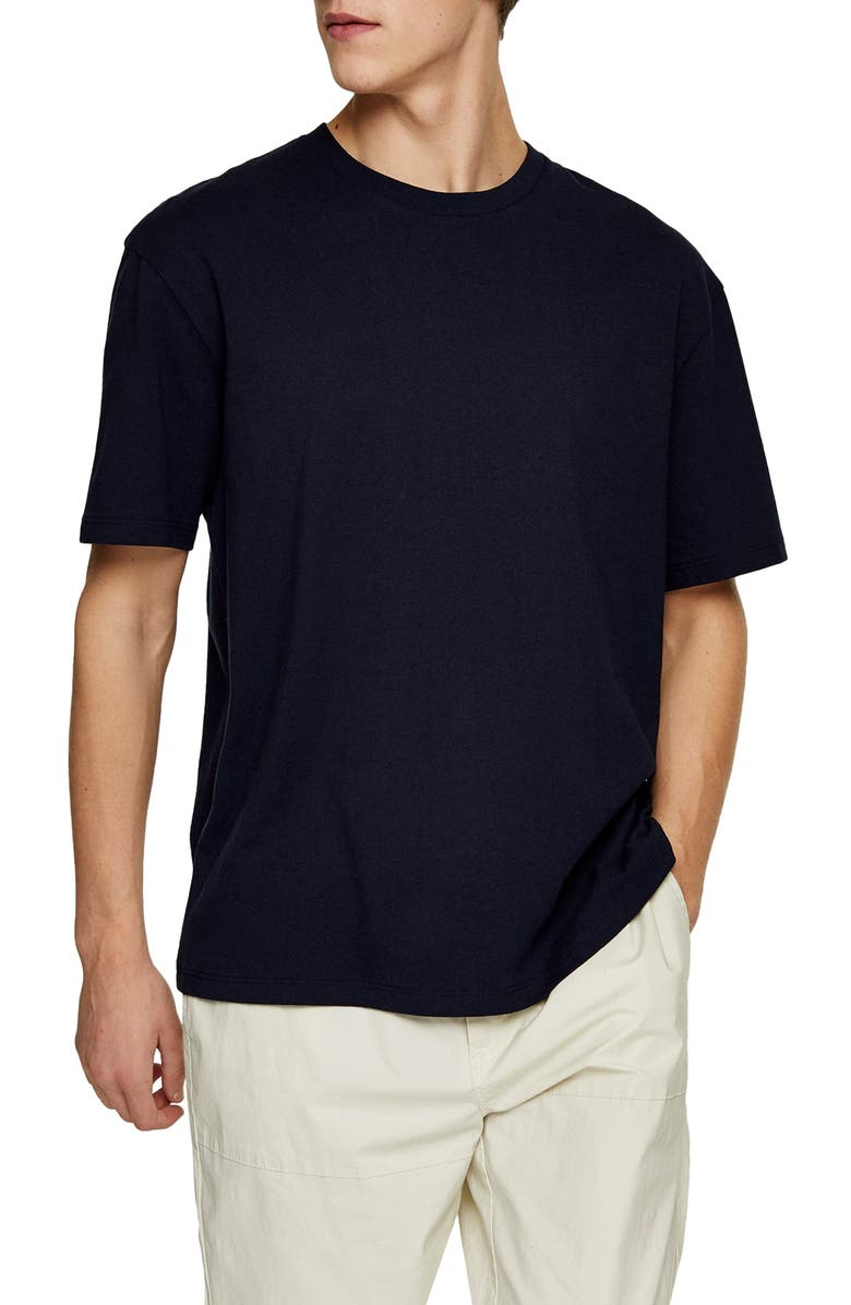 TOPMAN Oversize Fit T-Shirt, Main, color, DARK NAVY