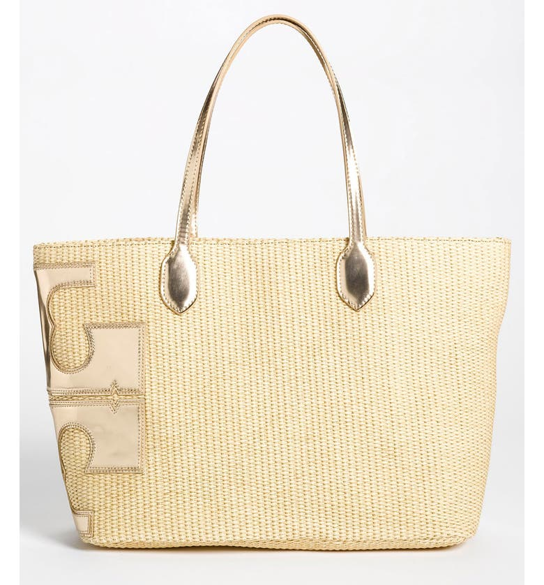 TORY BURCH 'Metallic Stacked T' Tote, Large, Main, color, NATURAL/ GOLD