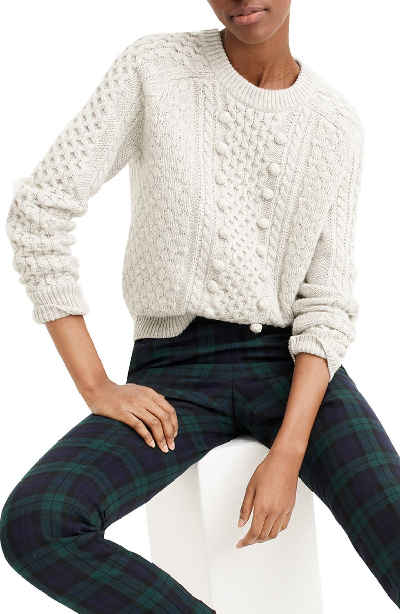 J.CREW Popcorn Cable Knit Sweater, Main, color, 020
