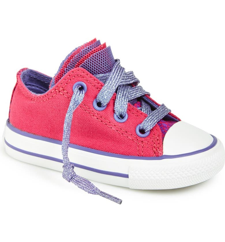 CONVERSE Chuck Taylor<sup>®</sup> All Star<sup>®</sup> 'Party' Reptile Print Low Top Sneaker, Main, color, COSMOS PINK