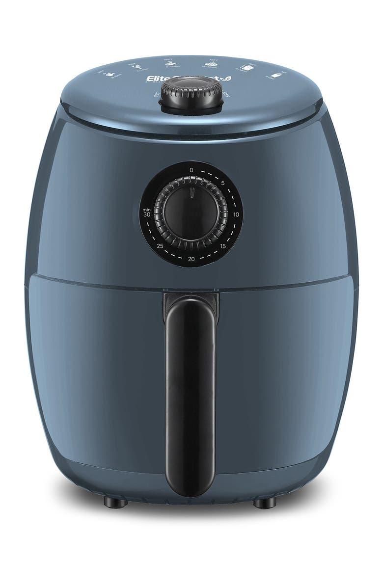 MAXI-MATIC Elite Gourmet 2.1qt Hot Air Fryer with Adjustable Timer and Temperature - Blue Grey, Main, color, SLATE BLUE