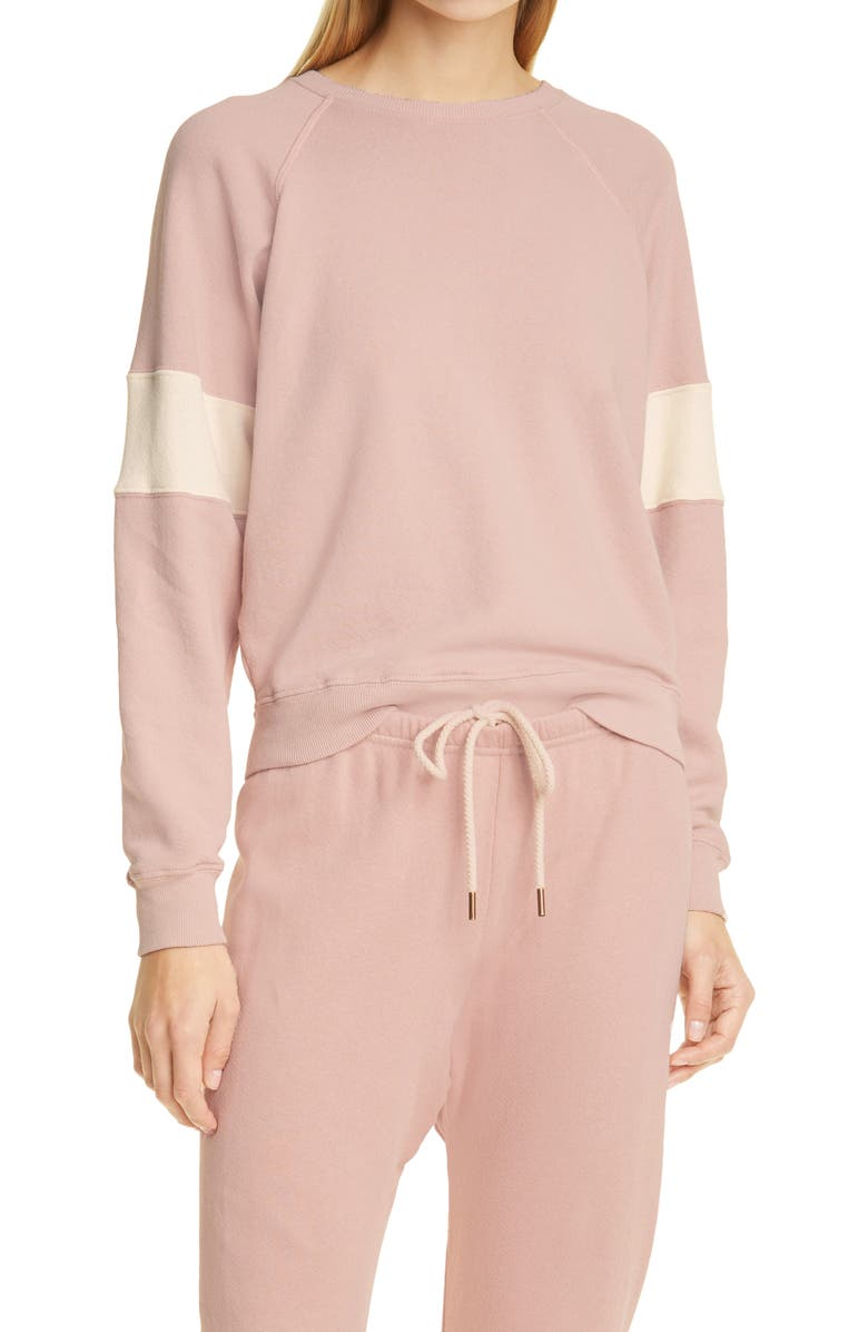 THE GREAT. The Shrunken Track Sweatshirt, Main, color, PINK FROST