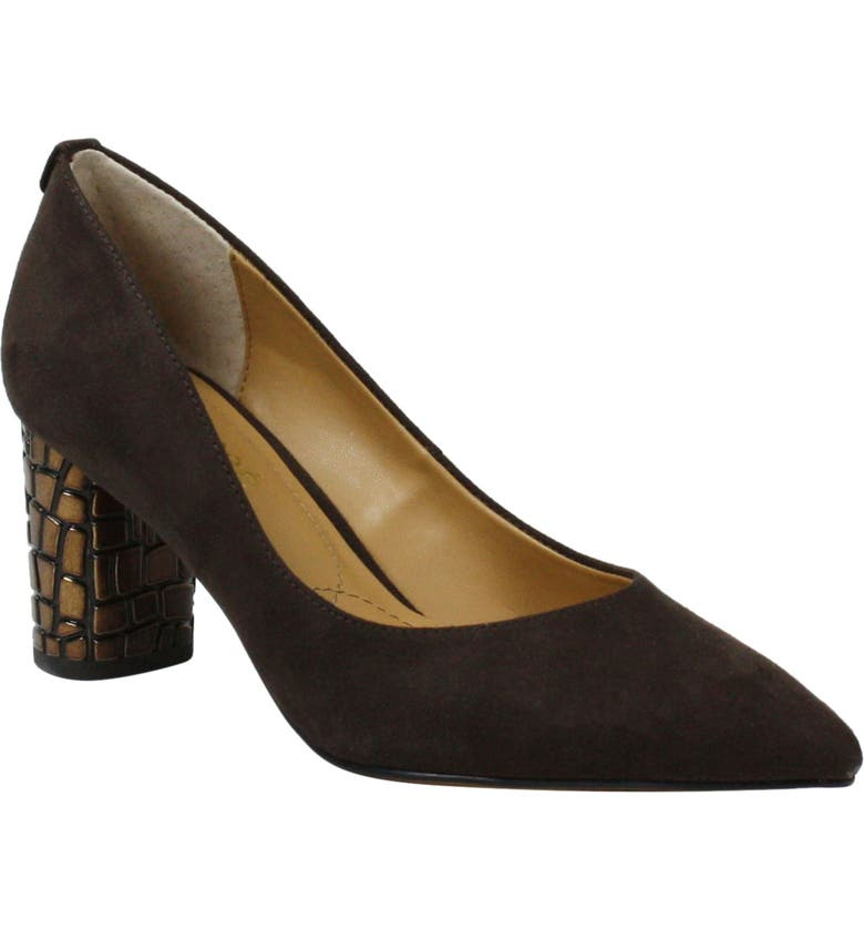 J. RENEÉ Vaneeta Pump, Main, color, CHOCOLATE FAUX SUEDE FABRIC