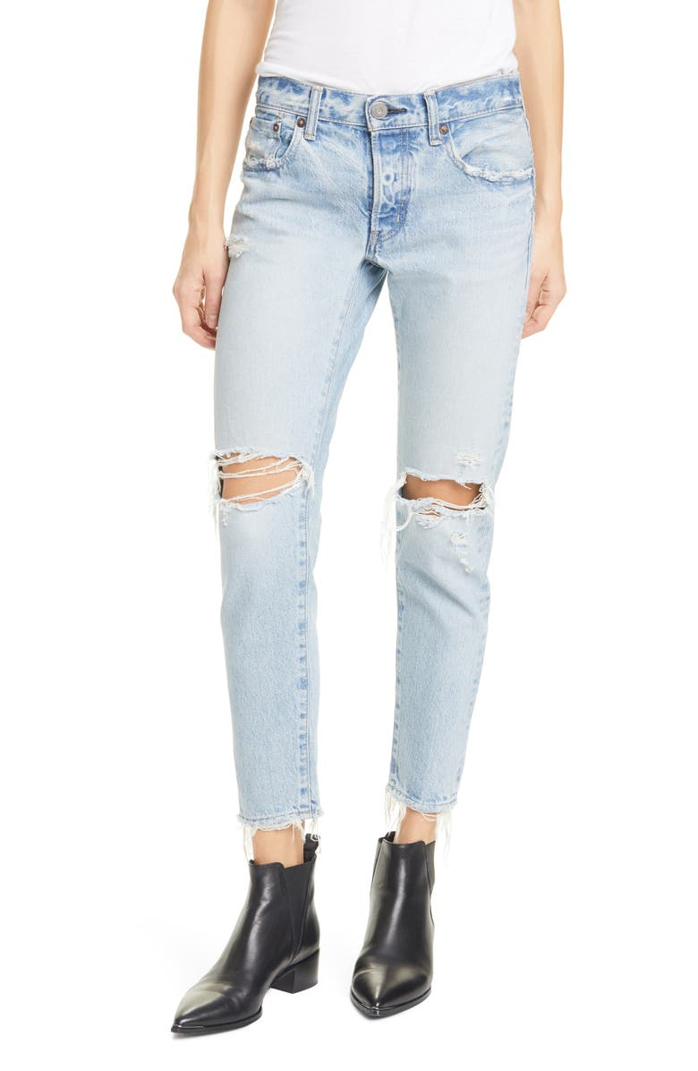 MOUSSY Yardley Ripped Tapered Jeans, Main, color, LIGHT BLUE