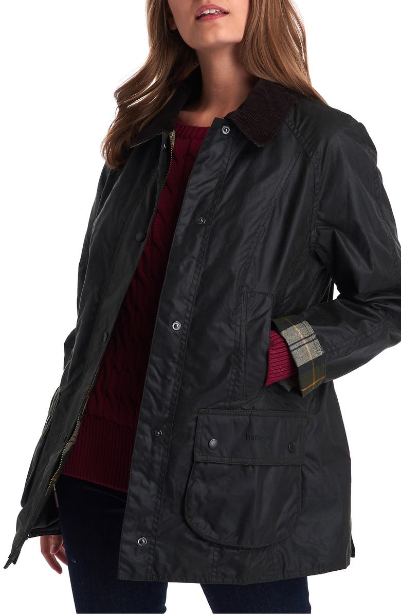 BARBOUR Beadnell Waxed Cotton Jacket, Main, color, SAGE