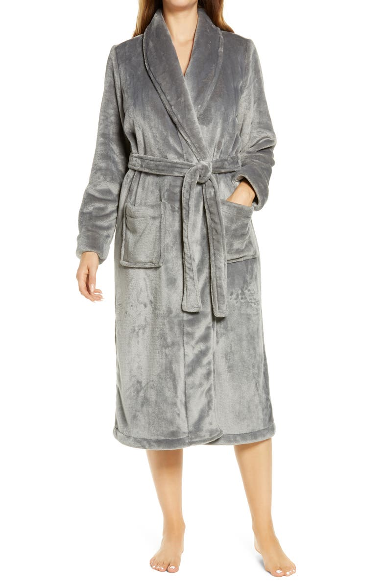 NORDSTROM Bliss Plush Robe, Main, color, GREY FROST
