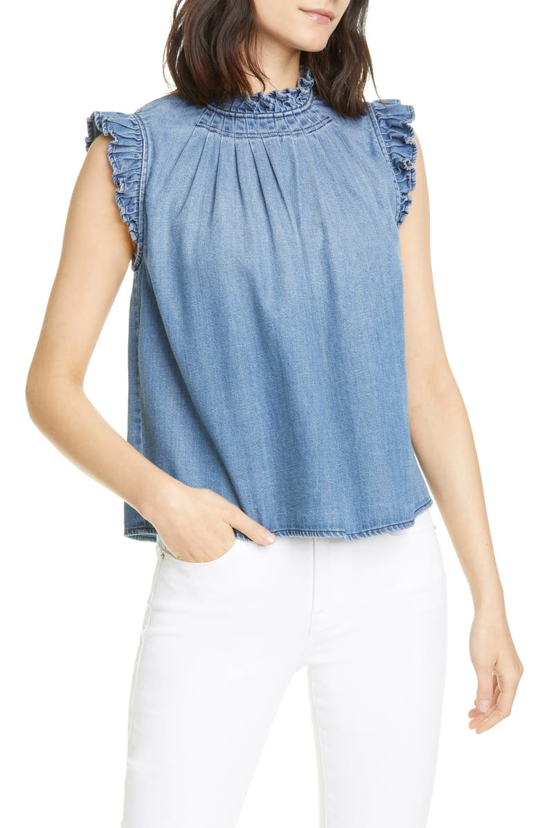 FRAME Ruffle Trim Chambray Top, Main, color, 420