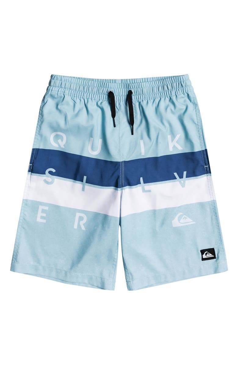 QUIKSILVER Kids' Word Block Volley Shorts, Main, color, AIRY BLUE