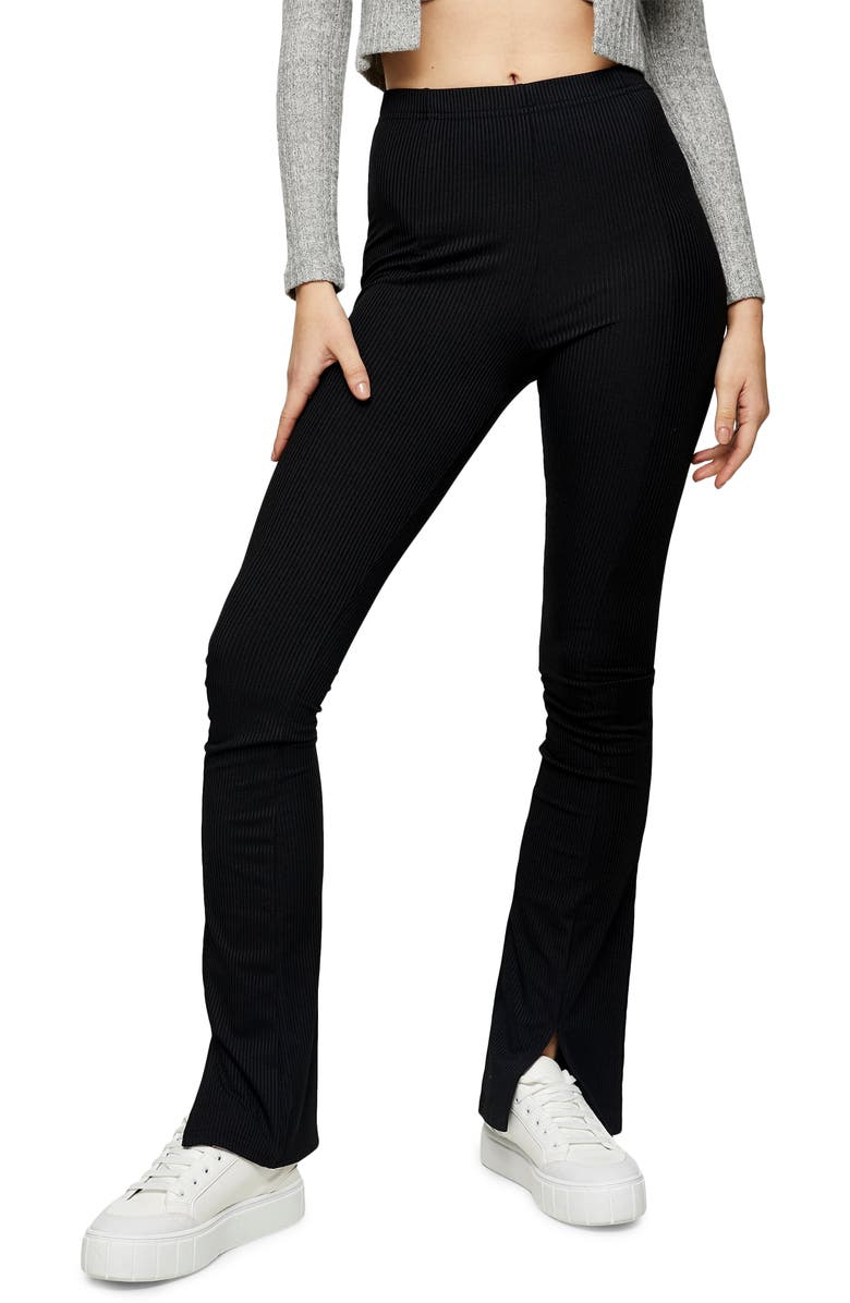 TOPSHOP Flare Trousers, Main, color, BLACK