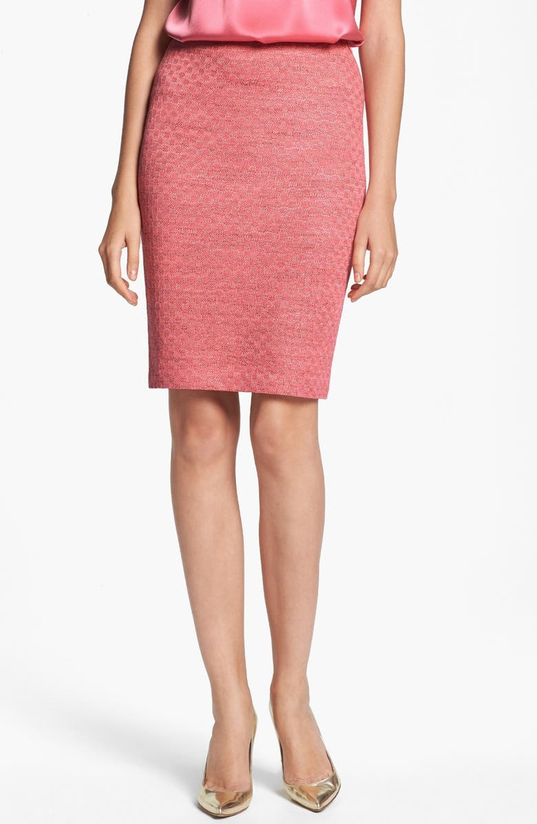 ST. JOHN COLLECTION Damier Knit Pencil Skirt, Main, color, 950